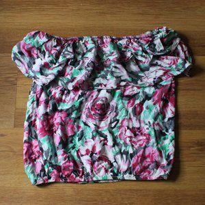 Kirra Floral Print Flowy Trim Tube Top